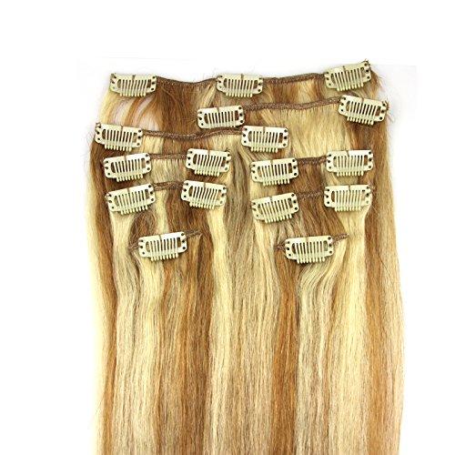 100-Remy-Clip-In-Extensions-Set-17-Clips-9-Teilig-45-cm-Echthaar-Dicke-Haarverlngerung-Haarverdichtung-P1460-Dunkelblond-Weiblond-0