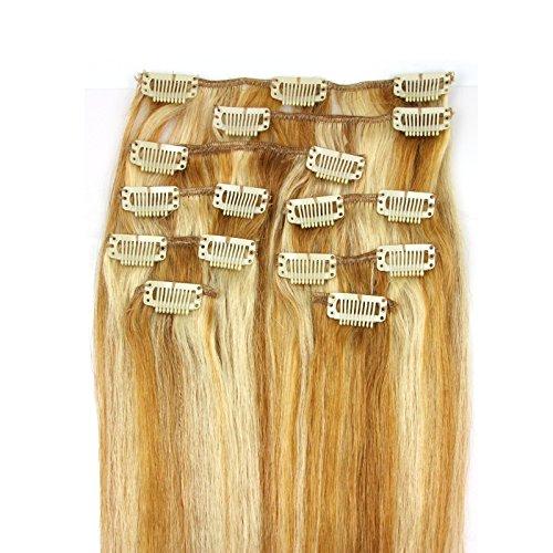 100-Remy-Clip-In-Extensions-Set-17-Clips-9-Teilig-50-cm-Echthaar-Dicke-Haarverlngerung-Haarverdichtung-P14613-Dunkelblond-Helllichtblond-0