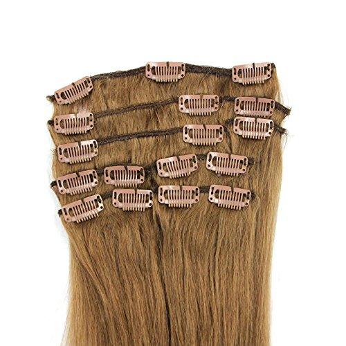 100-Remy-Clip-In-Extensions-Set-17-Clips-9-Teilig-55-cm-Echthaar-Dicke-Haarverlngerung-Haarverdichtung-Hellbraun-Haarteil-0