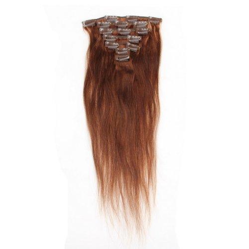 EOZY-1-Set-7-Clip-18-Inch-Extensions-Strhnen-Einfarbrig-Echthaarstrhnen-Haarteil-Haarverlngerung-Echthaar-fr-Cosplay-Kleid-Tanzen-Party-Haarteil-Farbe-Dunkel-Braun-0