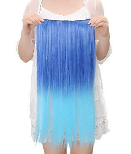 EOZY-1-Set-Blau-Bunt-Kunsthaar-Gerade-Glatt-5-Clip-In-Extensions-Haarverlngerung-Weft-Percke-Haarteil-Langhaar-60cm-0