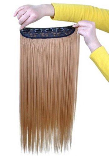 EOZY-1-Set-Blond-Kunsthaar-Gerade-Glatt-5-Clip-In-Extensions-Haarverlngerung-Weft-Percke-Haarteil-60cm-0