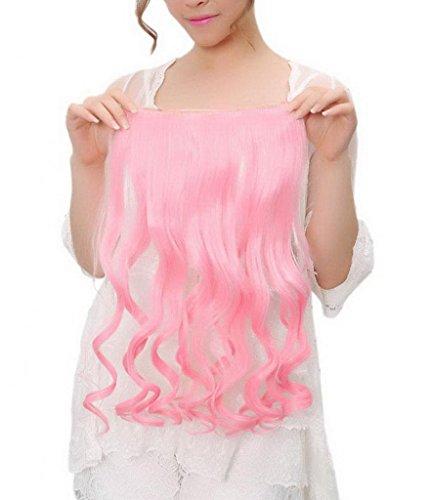 EOZY-1-Set-Bunt-Kunsthaar-Locken-Wellig-5-Clip-In-Extensions-Haarverlngerung-Weft-Percke-Haarteil-Langhaar-60cm-CH023-T9-Pink-0