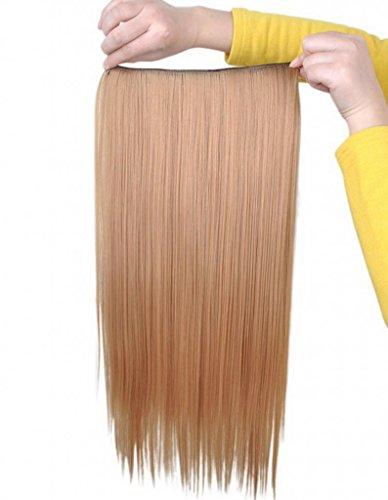 EOZY-1-Set-Gold-Kunsthaar-Gerade-Glatt-5-Clip-In-Extensions-Haarverlngerung-Weft-Percke-Haarteil-60cm-0