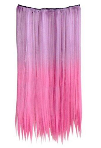EOZY-1-Set-Hell-Lila-Pink-Bunt-Kunsthaar-Gerade-Glatt-5-Clip-In-Extensions-Haarverlngerung-Weft-Percke-Haarteil-Langhaar-60cm-0