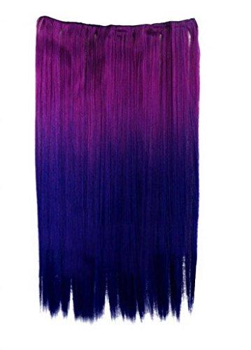 EOZY-1-Set-Lila-Blau-Bunt-Kunsthaar-Gerade-Glatt-5-Clip-In-Extensions-Haarverlngerung-Weft-Percke-Haarteil-Langhaar-60cm-0