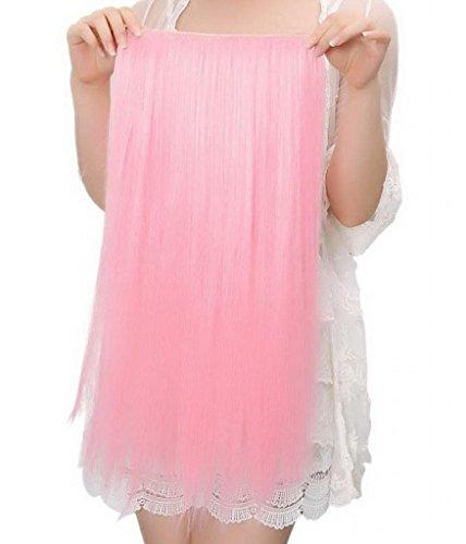 EOZY-1-Set-Pink-Bunt-Kunsthaar-Gerade-Glatt-5-Clip-In-Extensions-Haarverlngerung-Weft-Percke-Haarteil-Langhaar-60cm-0
