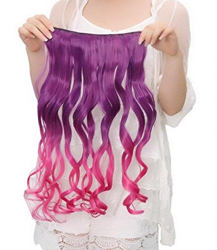 EOZY-1-Stck-Damen-Clip-In-Extensions-Haarverlngerung-Haarteil-Kunsthaar-Percken-Lang-Wig-Locken-Haarteil-Cosplay-Lila-Rosa-Lnge60cm-0