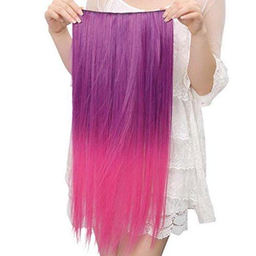 EOZY-1-Stck-Damen-Clip-In-Extensions-Haarverlngerung-Haarteil-Kunsthaar-Percken-Lang-Wig-glatte-Haare-Haarteil-Cosplay-Lila-Rosa-Lnge60cm-0