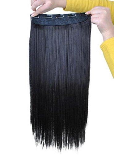 EOZY-1-Stck-Damen-Clip-In-Extensions-Haarverlngerung-Haarteil-Kunsthaar-Percken-Lang-Wig-glatte-Haare-Haarteil-Cosplay-Schwarz-Braun-Lnge60cm-0