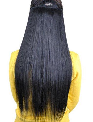 EOZY-1-Stck-Damen-Clip-In-Extensions-Haarverlngerung-Haarteil-Kunsthaar-Percken-Lang-Wig-glatte-Haare-Haarteil-Cosplay-Schwarz-Lnge60cm-0