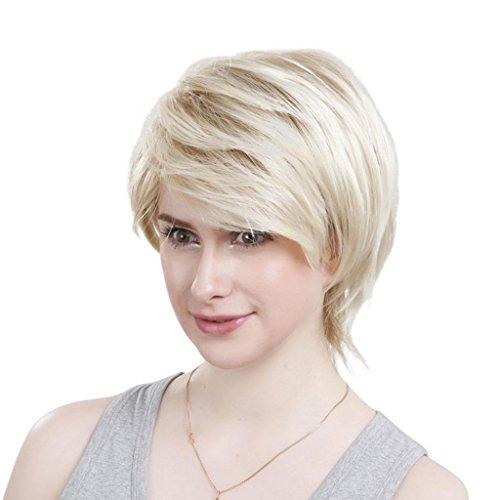 EOZY-1-Stck-Damenpercke-Blonde-Haarteile-Glueless-schrgen-Pony-kurze-lockige-brasilianische-Menschenhaar-Percken-Lnge16cm-0