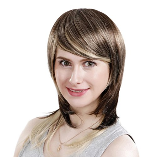 EOZY-1-Stck-Damenpercke-Mischfarbe-Haarteile-Glueless-schrgen-Pony-kurze-lockige-brasilianische-Menschenhaar-Percken-Lnge48cm-0