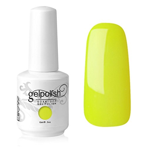 Elite99 Gelish UV LED Gel auflösbarer Nagellack Nagelgel Gellack Pastell neon gelb yellow (1 x 15 ml)