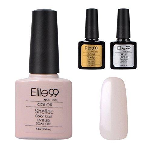 Elite99-Shellac-UV-LED-Gel-auflsbarer-Nagellack-Nude-Wei-nude-NEU-Base-Coat-Top-Coat-Nagelgel-Farbgel-Farblack-3-x-73ml-0