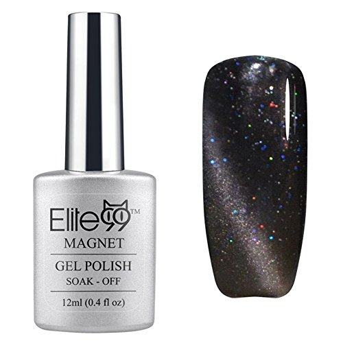 Elite99 UV LED Cat Eye 3D Farbe Nail Gel auflösbarer Nagellack Shimmer Dark Grey 6594 12ml C