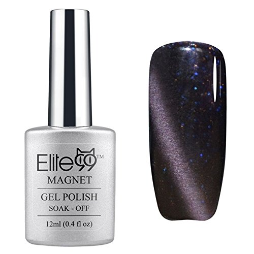 Elite99 UV LED Cat Eye 3D Farbe Nail Gel auflösbarer Nagellack Shimmer Grey-purple 6595 12ml C