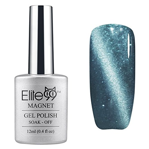 Elite99 UV LED Cat Eye 3D Farbe Nail Gel auflösbarer Nagellack Shimmer Silver Grey 6584 12ml C