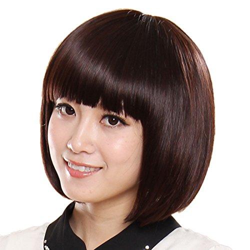 Frau-Hair-Replacement-mittel-dunkel-braun-BOBO-Bang-Gerade-Reibungslos-Percke-natrlich-wie-Echthaar-Kurz-0