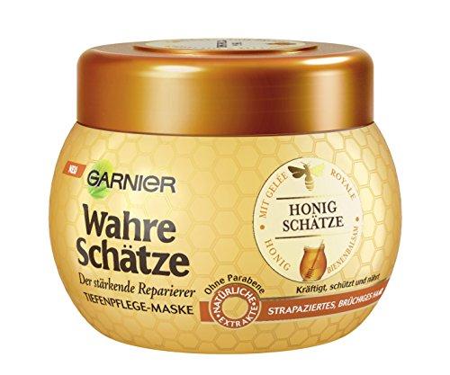 GARNIER-Wahre-Schtze-Haar-Maske-Haarkur-fr-intensive-Haarpflege-Bewahrt-den-Farbglanz-mit-Gele-Royale-Bienenbalsam-Honig-fr-brchiges-strapziertes-Haar-1-x-300ml-0