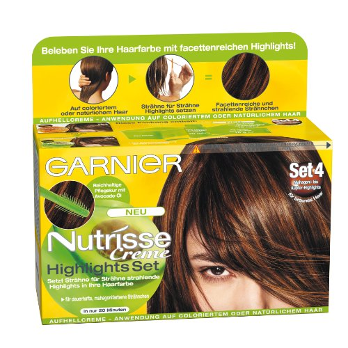 garnier nutrisse creme highlights set 4 f r braune bis kupfer str hnchen str hnen set zum. Black Bedroom Furniture Sets. Home Design Ideas