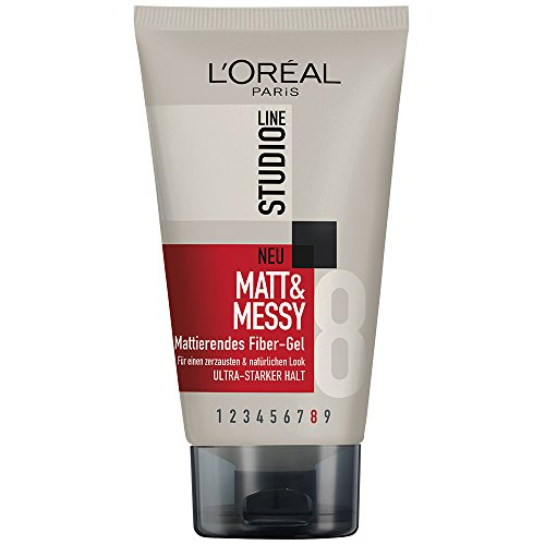LOral-Paris-Studio-Line-Haar-Creme-Matt-und-Messy-Fiber-Gel-Haargel-mattierend-fr-natrliche-Looks-kein-Verkleben-kein-Beschweren-6-x-150-ml-0