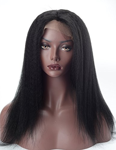 Lordhair-100-Indian-Human-Hair-Kinky-Straight-Lace-Front-Wig-16inches-Color-1Jet-black-0