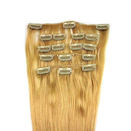OUBO-100-Remy-Clip-In-Extensions-Set-17-Clips-9-Teilig-Echthaar-Dicke-Haarverlngerung-Haarverdichtung-Haarteil-Glatt-11-Farben-613-Helllichtblond-40cm-0