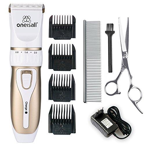 Oneisall-Profi-Schermaschine-mit-Zubehr-Wiederaufladbare-Tierhaarschneider-Haustiere-Elektrische-Haarschneidemaschine-fr-Hunde-Katze-0