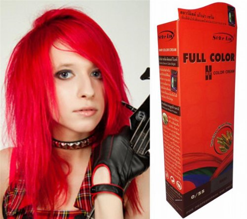 Permanente-Haarfarbe-Tnung-Coloration-Haar-Cosplay-Gothic-Punk-KNALL-HELL-ROT-055-0