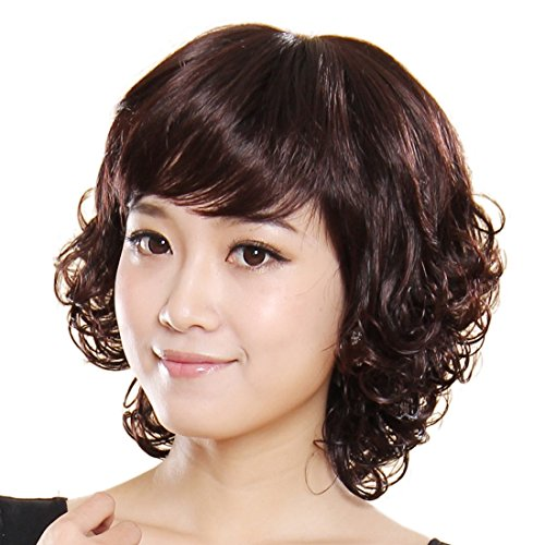 Short-Curly-charmante-Dunkelbraun-Frau-synthetische-Percke-0
