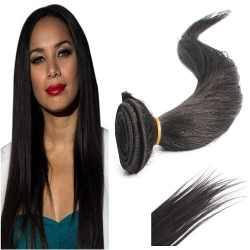 Yesurprise Echthaar Haarverlängerung Extensions 20 inches 50cm Brazilian Straight 100% Virgin Human Hair Weaving Weft Extensions 50g #1B
