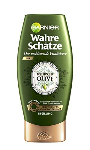 Garnier Wahre Schätze Spülung, Conditioner für intensive Haarpflege, Regeneriert tiefenwirksam (aus nativem Olivenöl - für sehr trockenes, beanspruchtes Haar - ohne Parabene) 1 x 200 ml)
