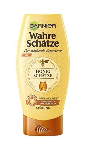Garnier Wahre Schätze Spülung, Conditioner für intensive Haarpflege, Kräftigt die Haarstruktur (mit Gelée Royale, Bienenbalsam & Honig - für strapaziertes, brüchiges Haar - ohne Parabene) 1 x 200 ml)