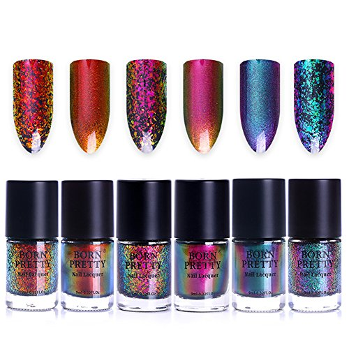 Born Pretty 9ml Nail Art Chameleon Polish Iridescent Flakies Sequins Shinning Manicure Lacquer Varnish