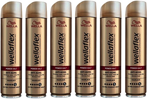 Wella Wellaflex Power Halt Anti-Aging Haarlack für dünnes Haar, 6er Pack (6 x 250 ml)